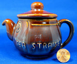 Tea Strainer Sylvac Face Pot Brown Eyes Nose Smile 1940s Anthropormorphic Chrome Strainer