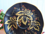 Elegant Black Cup And Saucer Metallic Gold Leaves Red Enamel Tuscan 1940s