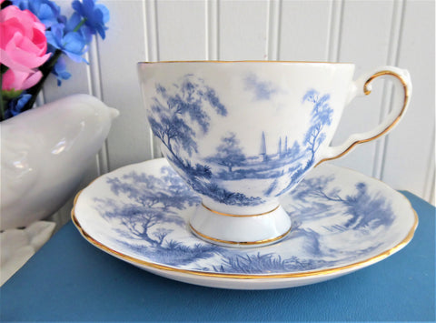 Blue And White French Toile Landscape Cup And Saucer Tuscan England 1930s