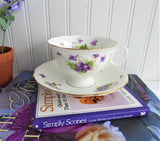 Purple Violets Cup and Saucer 1938-1957 Radfords England Bone China