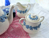 Wedgwood Sugar And Creamer Embossed Queensware Blue On White Grapevine 1940s