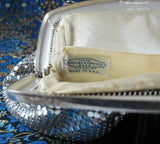 Whiting Davis Silver Mesh Purse Handbag 1940s Art Deco Evening Bag Elegant
