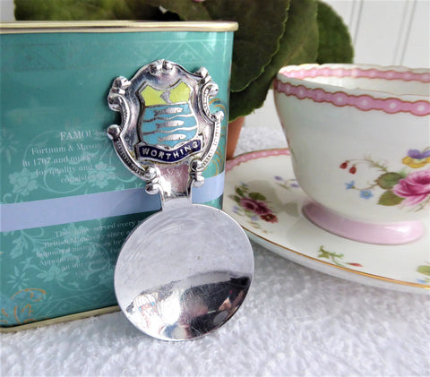 Vintage Tea Caddy Spoon Worthing UK Tea Scoop 1930s Souvenir Enamel 3 Fish