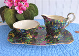 Black Victorian Chintz Royal Winton Sugar Cream And Tray 1940s Petit Point Floral