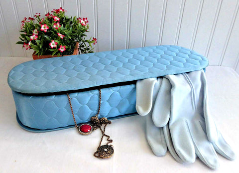 Blue Quilted Satin Glove Box Lingerie Jewelry Box 1940s Vanity Box