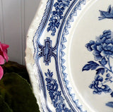 Dinner Plate Blue Transferware Masons Manchu Shabby Chippy Ironstone 1940s