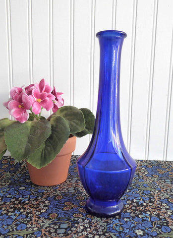 Cobalt Blue Glass Vase 1940s Art Deco Paneled Bud Vase Vintage Art