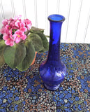 Cobalt Blue Glass Vase 1940s Art Deco Paneled Bud Vase Vintage Art Glass Mold Blown
