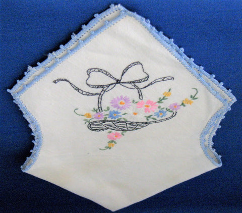 Bread Cover Roll Hand Embroidered Linen Flower Basket 1940s Flower Basket