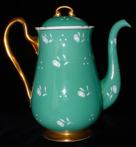 Shelley Green Stencil Coffee Pot Tall Teapot Raised Enamel Dots Chintz 1940