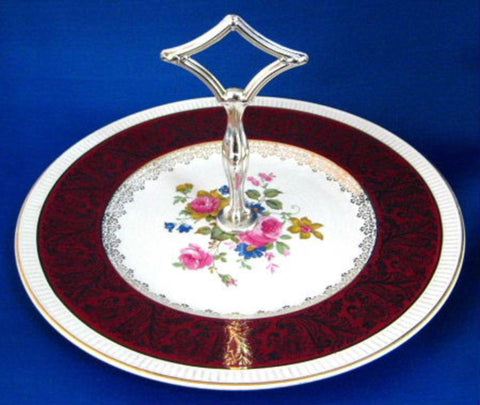 English Cake Plate With Handle Tidbit Server Floral 1940s Burgundy Gold
