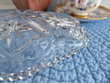 Relish Spoon Dish Lead Crystal Oval Star Fan Sawtoothed Rim USA 1940s