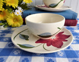Pair of Cups And Saucers Blue Ridge Poinsettia Teacup 1940s Colonial Shape Holiday