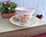 Blush Pink Wild Roses And Trees Cup And Saucer Art Deco Hand Colored Transferware 1940s