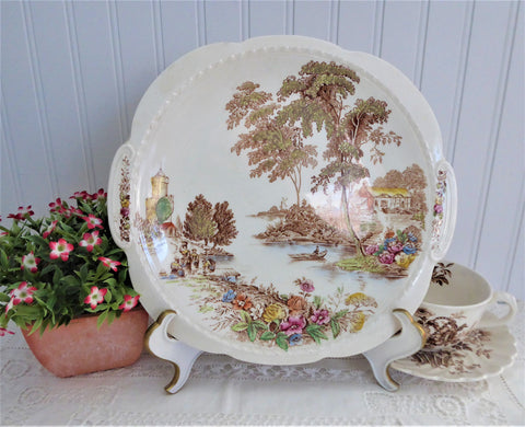 The Ferry Cake Plate Transferware Lugged Cake Plate Swinnertons 1940s Platter Polychrome