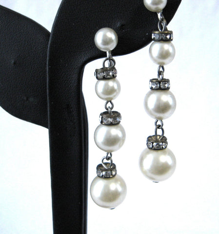 Rhinestone Pearl Earrings Dangles Screw Back 1940s Vintage Tea Party Glamour
