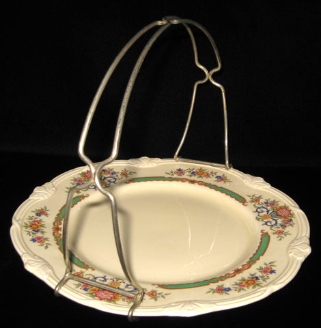 Serving Plate With Silver Handle Grindley Weymouth Petit Fours Tidbit Server Floral 1940s
