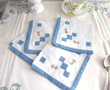 Napkins Blue Border Set of 4 Tea Party Cocktail Embroidered Appliqued 1940s Linen Tea Party