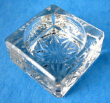 Open Salt Pressed Glass Salt Cellar England Star Bottom Beveled Book Piece 1940s