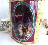 English Christmas Kittens Tea Tin Holly Chintz 1940s Gold Green Red Christmas Colors Biscuit
