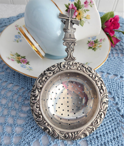 Vintage Tea Strainer Over The Cup Strainer Turning Windmill 1940s Silverplate Dutch