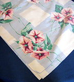 Vintage Tablecloth Morning Glories Blue Plaid 54 Square 1950s Blue White Pink Wilendur