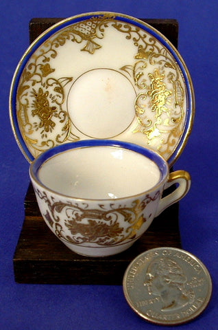 Miniature Cup And Saucer Occupied Japan Heavy Gold Moriage Blue 1945-1952 Mini Teacup