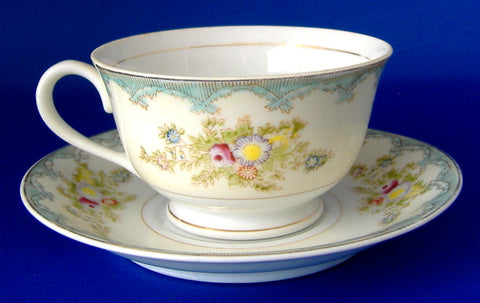 Occupied Japan Cup And Saucer Floral Bouquets 1945-1952 Aqua