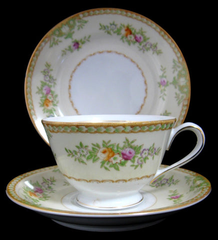 Occupied Japan Cup Saucer Plate Teacup Trio Pretty Floral 1945-1952 Yazaka