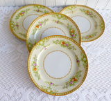 Occupied Japan Set Of 4 Bread Plates Pretty Floral 1945-1952 Yazaka