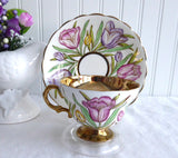 Gorgeous Rosina England Cup and Saucer Hand Colored Tulips On Brown Transfer Luxe Gold