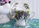 Wisteria Cup and Saucer Rosina England Hand Colored On Black Transfer Red Enamel Accents