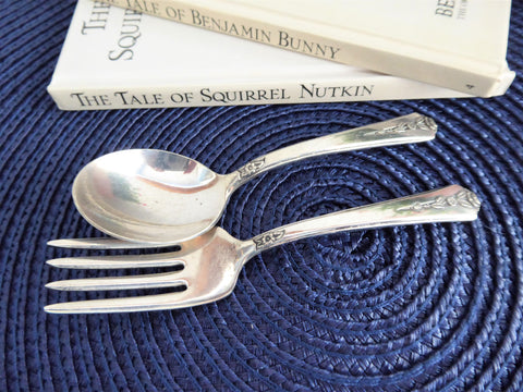 Childs Spoon Fork Holmes Edwards Spring Garden 1949 Silverplate Toddler Baby
