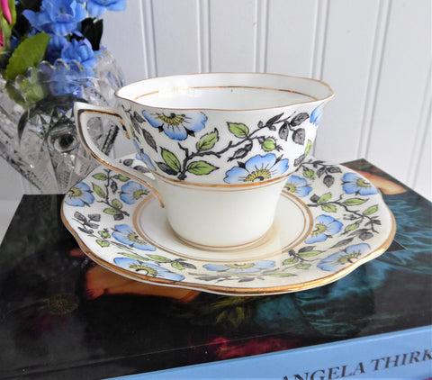 Cup and Saucer Rosina England Hand Colored Blue Dog Roses On Black Transfer Art Deco