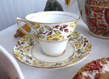 Rosina England Hand Colored Cup and Saucer Yellow Dog Roses On Brown Transfer