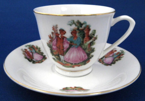 Cup And Saucer 18th Century Dancing Couple Demi 1950s After Dinner Espresso