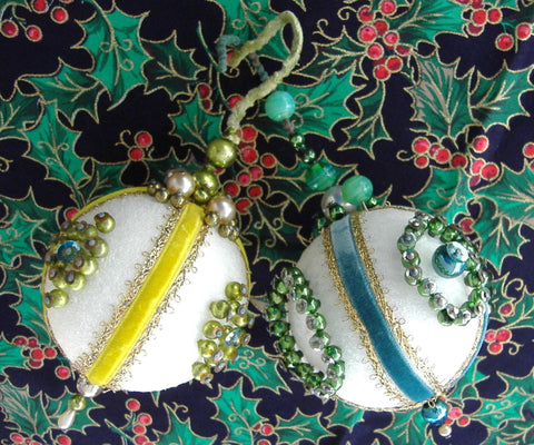 Beaded Christmas Tree Ornaments 2 Yellow Teal Handmade 1950s Mercury Glass Beads