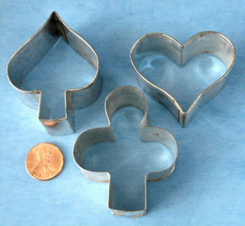 Tin Cookie Cutters 3 Vintage Card Suits Heart Spade Club Retro Bridge Party 1950s Card Party