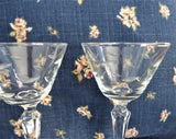 Etched 6 Sherry Glasses Crystal Stemware Leaves 1950s Wine Elegant Fancy Tea