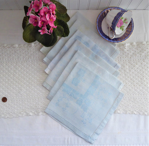 Pale Blue Damask Napkins 6 Dinner Napkins 1950s Elegant Tea 16 Inch