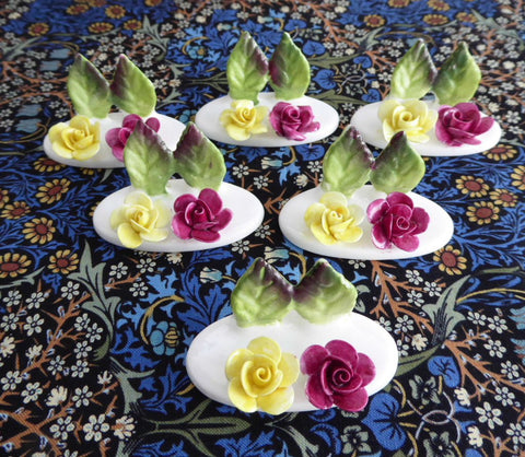 Bone China Roses 6 Place Card Holders Crown Staffordshire Hand Made 1970s