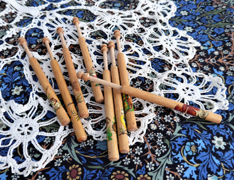 English Lace Bobbins Turned Wood Animal Decals Set of 8 Lacemaking 1950s