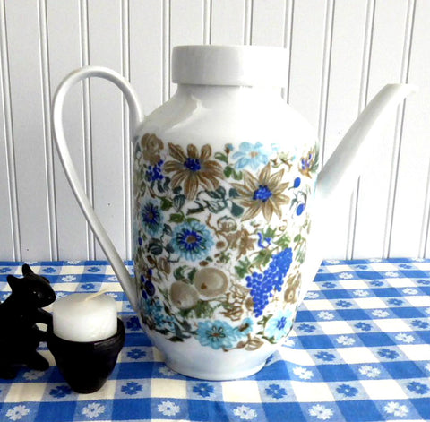 Coffeepot Blue Brown Arzberg Bavaria 1960s Mid Century Modern Tall Teapot Nuts Fruit