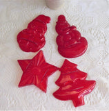 Merry Christmas Cookie Cutters 4 Red Plastic Aunt Chick 1950s Santa Star Tree Snowman