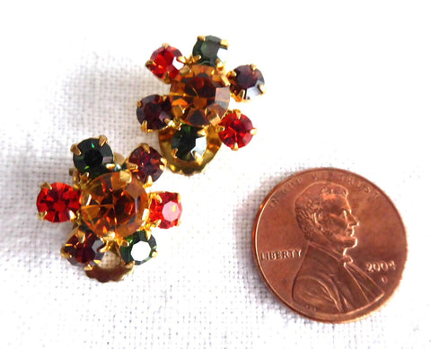 Austrian Crystal Earrings 1950s Dainty Jewel Color Clusters Round Rhinestones Clips