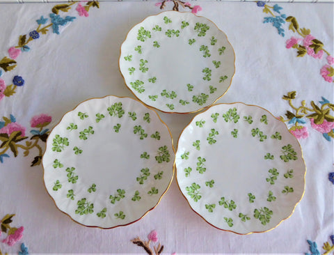 Aynsley Shamrock Set 3 Plates Green Irish Shamrocks 1950s Bread Dessert English Bone China