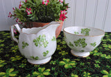 Aynsley Shamrock Cream And Sugar Green Irish Shamrocks 1950s Pedestal English Bone China