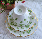 Aynsley Shamrock Teacup Trio Green Irish Shamrocks 1950s Pedestal English Bone China