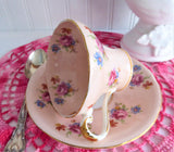 Aynsley Corset Cup And Saucer Peachy Pink Floral Chintz 1940s Bone China Tea Party