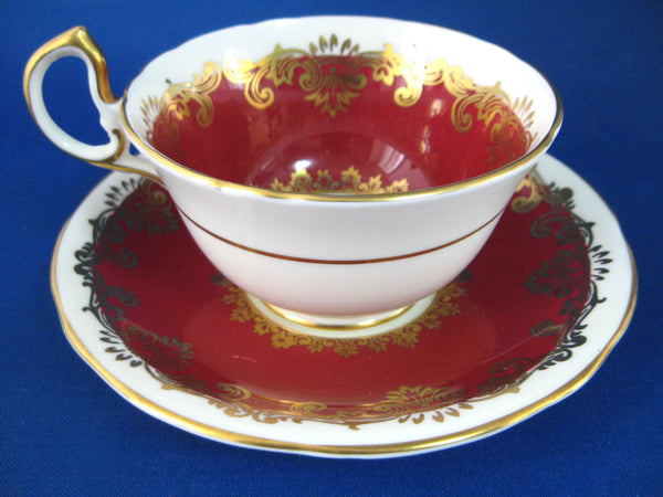 Cup And Saucer Aynsley Red White Gold Overlay 1950s Bone